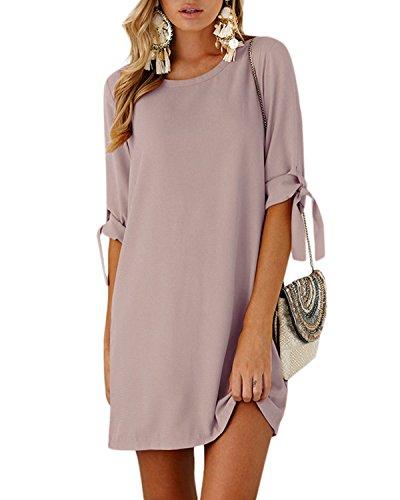 YOINS Sommerkleid Damen Tshirt Kleid Rundhals Kurzarm Minikleid Kleider Langes Shirt Lose Tunika mit Bowknot Ärmeln Rosa EU48(Kleiner als Reguläre Größe)
