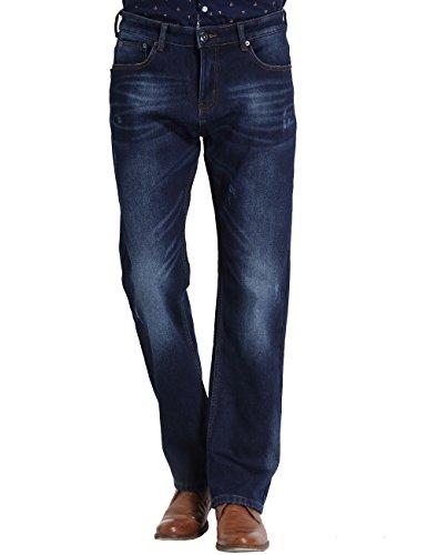SSLR Herren Gerades Bein Mid Rise Regular Fit Straight Leg Fleece Jeans (W40 x L32, Blau 1) (Straight Leg Mid-rise)