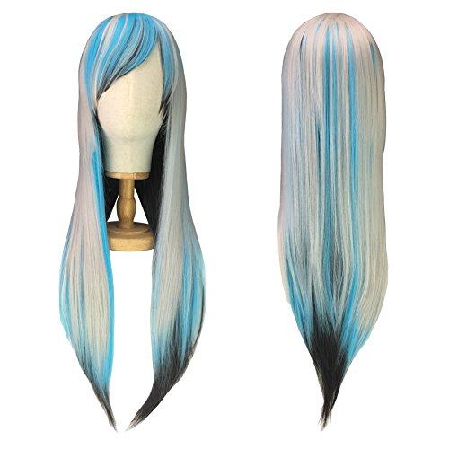 Perücke 80cm Lange Damen Haare - Sevada Sexy Damenperücken Wig für Karneval Cosplay Halloween fasching Schwarz Blau Grau (Haarspray Grau Halloween)