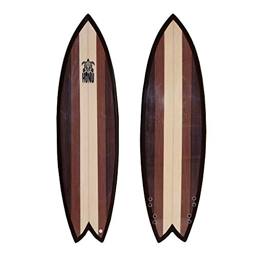 HONU - Tavola da Surf Fish 6'2, Design retrò, 4 x Derive