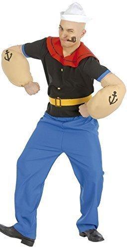5 Stück Herren Popeye Matrose 1960er Jahre Cartoon Junggesellenabschied Kostüm Kleid Outfit Größe L (Popeye Kostüme Arme)