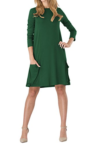 YMING Damen Kleid Langarm mit Taschen Kleid Lose T-Shirt Kleid Rundhals Casual Tunika Midi Kleid,Grün,M/DE 38-40