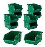 BigDean Stapelboxen Set 10 Stück Grün Groß 220x350x165mm - Kunststoff Sichtlagerkasten stapelbar - perfekt für Ordnung in Werkstatt & Garage