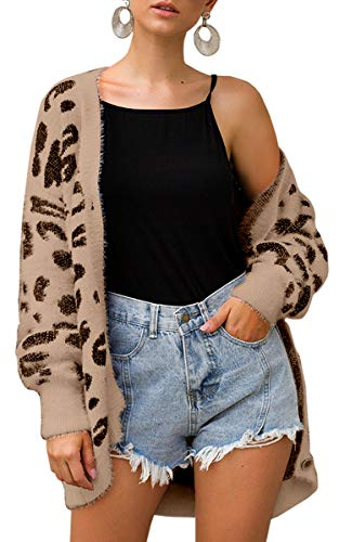 Spec4Y Damen Strickjacke Leopard Langarm Cardigan Knöpfen Casual Lose Strickpullover Outwear Coat Herbst Winter Khaki M - Baumwolle Leopard Rock