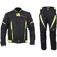 ANTLEP Traje de Moto Chaqueta + Pantalón de Motorista Prueba de Viento Forro extraíble para Hombre otoño Invierno Verano,Winter,L