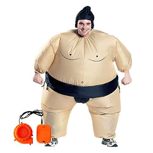 Zhoujinf Aufblasbares Kostüm,Sumo Wrestler Kostüm Aufblasbarer Anzug Blow Up Outfit Cosplay Party Kleid Für Kinder Und Erwachsene