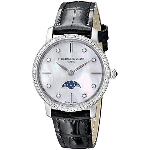 Frederique constante de la mujer fc-206mpwd1sd6'Slim Line' madre de perla Dial diamante bisel con tachuelas correa de piel Swiss