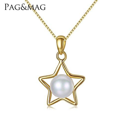 Haixin S925 argent chaine, pendentif perle naturelle chaîne longue 42 + 3 cm (réglable)