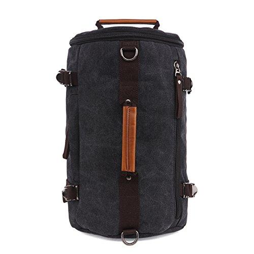 Outreo Vintage Borsa Uomo Scuola Zaino Sportive Borsello università Laptop Backpack per Studenti Sacchetto Outdoor Zaini Sport Borse di Tela Viaggio Tasca Nero