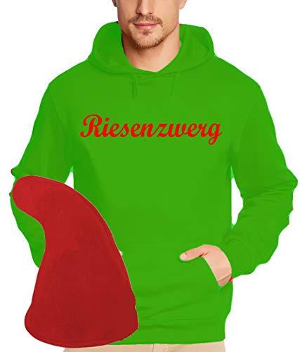 Preisvergleich Produktbild Coole-Fun-T-Shirts ZWERGEN Kostüm Set Riesenzwerg Hoodie Sweatshirt + Zwergenmütze Green-rot Gr.3XL