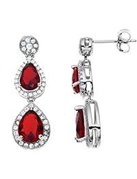 38dee063c556 Pendientes de gota de rubí sintético y diamante – Plata de ley 925