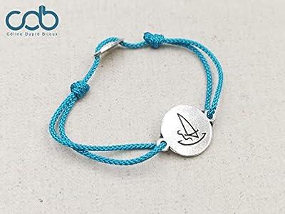 """Bracelet cordon tressé""""Windsurf/planche à voile"""" ø16mm - étain finition argent 925"""