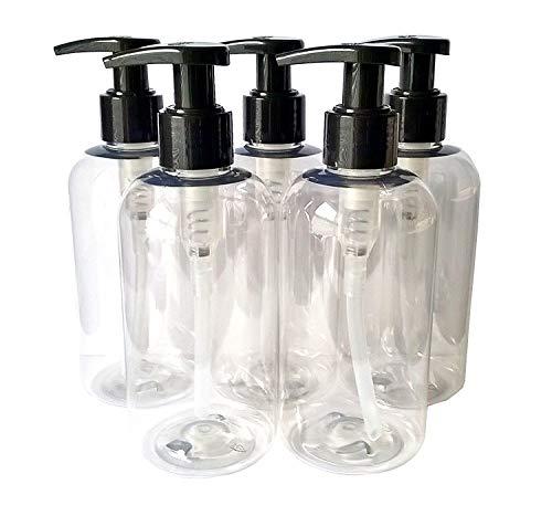 5 X 250ML Clear PET Empty Plastic Bottle with Black Lotion Pump Dispenser - Recyclable