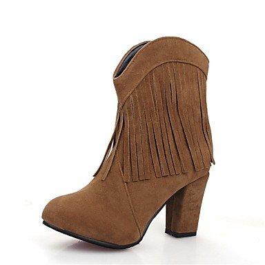 RTRY Scarpe donna Fleece Autunno Inverno Equitazione moda Stivali Stivali Stivali Chunky tallone punta tonda Mid-Calf stivali nappa per Office & carriera vestire US12.5 / EU45 / UK10.5 / CN47