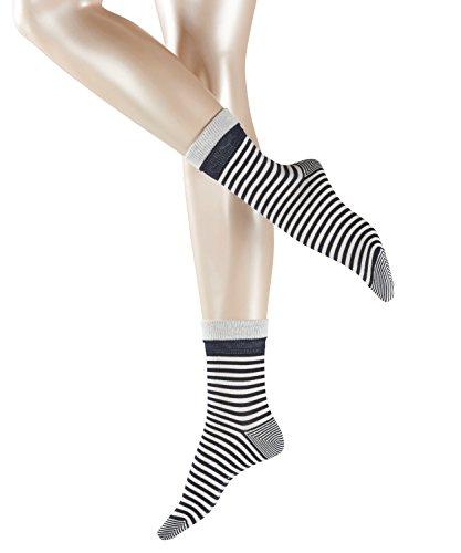 ESPRIT Damen Socken Fold Stripe, 83% Baumwolle, 1 Paar, Blau (Marine 6120), Größe: 39-42