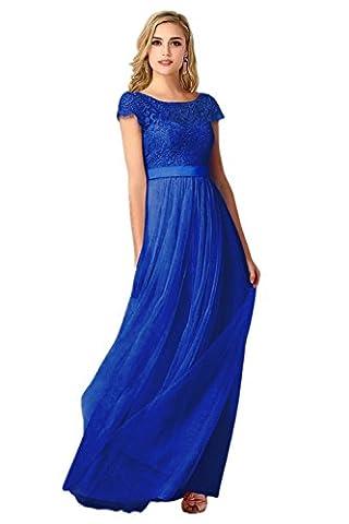 MisShow®Damen Spitze Applikation Ballkleid Lang Rückenfrei Abendkleid Brautjungfernkleid Cocktailkleid Royal-Blau 38