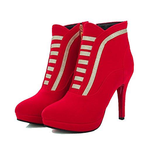 AgooLar Damen Nubukleder Stiletto Gemischte Farbe Knöchel Hohe Reißverschluss Stiefel Rot