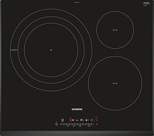 Siemens EH651FDC1E iQ300 - Placa de cocina por inducción, ancho 60 cm, 3 áreas de cocción con zona gigante, tecnología fryingSensor, 7400 W, bisel delantero, color negro