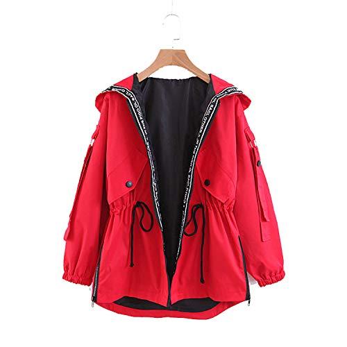 Lisa Billy Jacket Women Autumn Hooded Black et New Ladies Patchwork Red Slim Coat Letter Print Short Outwear Korean Clothes Red XXL