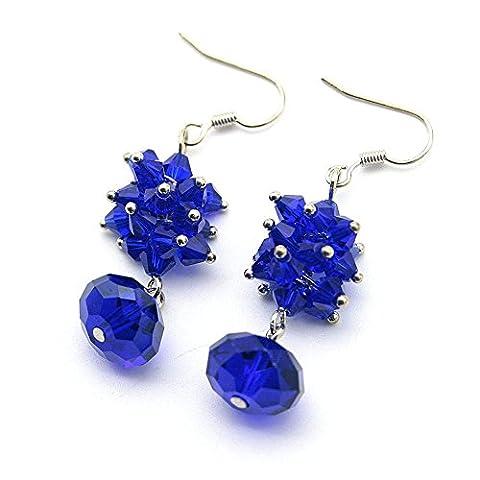 So Beauty 2 Pair/ 4 pcs Women's Fashion Sterling Silver Austrian Crystal Pierced Drop Earrings-Sapphire blue