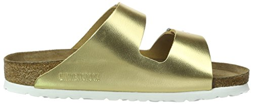 Birkenstock Damen Arizona Leder Pantoletten Gold (Metallic Gold)
