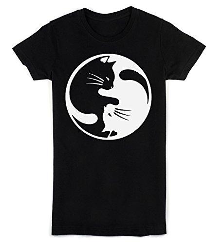 Beautiful Yin And Yang Cats Design Women's T-Shirt Small
