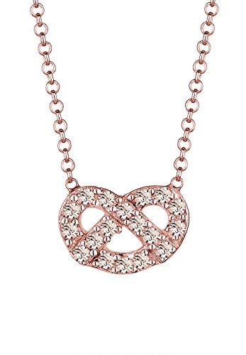 Elli Halskette Damen Brezel Wiesn mit Swarovski Kristall in 925 Sterling Silber