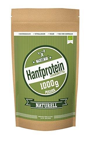 Maskelmän Bio Hanfprotein Pulver Naturell - vegan - 50 Prozent Proteinanteil - Hypoallergen und leicht verdaulich (1000 g)