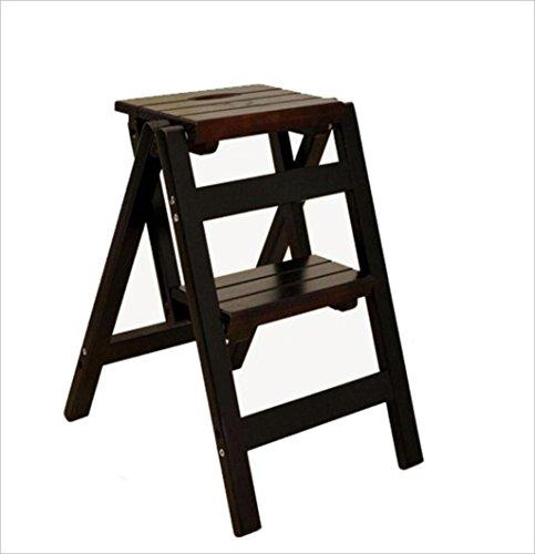 XIAOLVSHANGHANG HHCS Multifunktionale Massivholz Bank Schritt Falten Zwei Schritt Leiter kleine hölzerne Leiter tragbare Leiter Rack Hocker & Stühle (Farbe : B) - Schreibtisch Leiter Schwarz