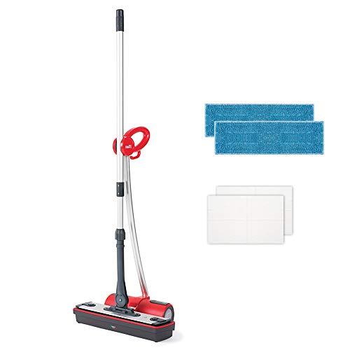 Polti MOPPY Red Lavapavimenti a Vapore Cordless per Tutti i Pavimenti e Le Superfici Verticali Lavabili, 1500 W, 0.7 Litri, Rosso