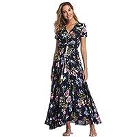 VintageClothing Women's Floral Print Maxi Dresses Boho Button Up Split Beach Party Dress,Black&floral B,Large