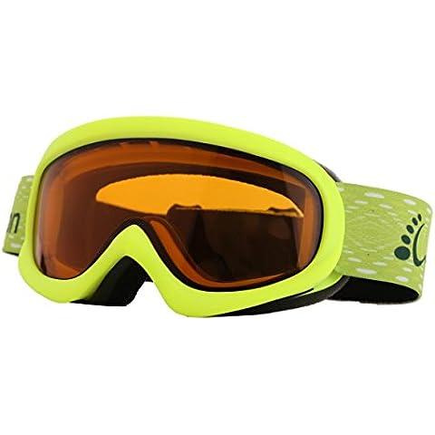 WODISON antiappannamento Sci Snowboard Neve Occhiali con antivento lente UV400 per la gioventù (giallo)
