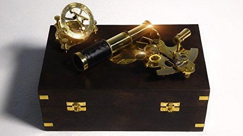Nautisches Set, Massiv-Messing bestehend aus Kompass mit Sonnenuhr, Teleskop und Sextant (handgefertigt)