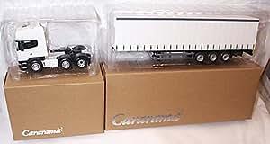 Cararama plain white cab and trailer lorry set bundle 1.50 scale diecast model