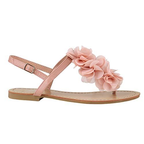 Damen Zehentrenner Blumen Lack Sandalen Dianetten Bequeme Sommer Übergrößen Flats Schuhe 135988 Apricot Blume 39 Flandell
