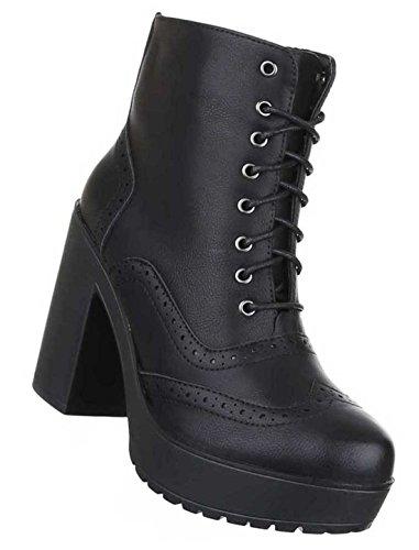 Senhoras Botas Stiefeletten Sapatos Planalto Laço Preto Castanho 36 37 38 39 40 41