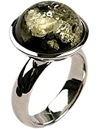 Green Amber Sterling Silver Round Ring