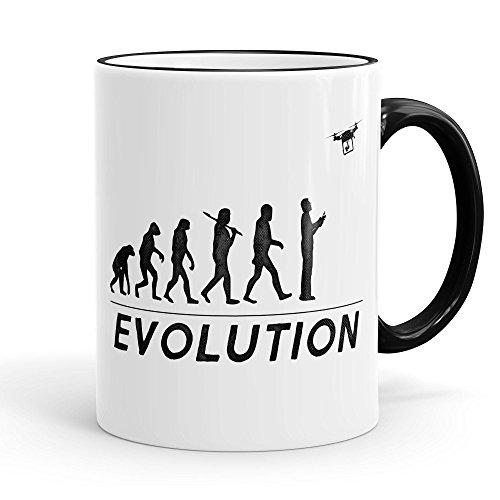 Funtasstic Tasse Drone Evolution - Kaffeepott Kaffeebecher 375 ml, Farbe:schwarz