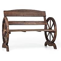 Blumfeldt Ammergau Banco para jardín (108 cm, diseño atemporal, apoyabrazos en froma de rueda, madera de pino quemado)