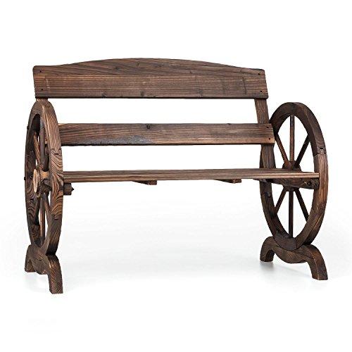 Blumfeldt Ammergau • Gartenbank • Holzbank • Sitzbank • Wagenrad-Optik • hohe Rückenlehne • gefertigt aus Tannenholz • Brandbehandlung zum Schutz vor Witterung • künstlicher Alterungseffekt durch geflammtes Holz • Maße: ca.108 x 86 x 65 cm (BxHxT) • braun