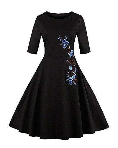 YiLianDa Femme Manteau Robe Rétro Vintage Années 50 s Style Classique Coton Bleu