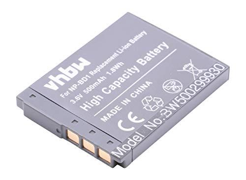 vhbw Li-Ion Akku 500mAh (3.6V) für Kamera Sony Cybershot DSC-T300, DSC-T500, DSC-T700, DSC-T900, DSC-TX1 wie NP-BD1, NP-FD1. Tx1 Kamera