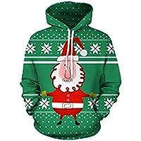 FOOBRTOPOO Novedad Navidad Sudadera navideña Outwear Cordón Sudadera con Capucha Suéteres Papá Noel de impresión Verde suéter Sudadera con Capucha -S (Color : Colorful, tamaño : XXL)