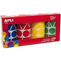Apli 010753 Pack de 4 rouleaux de gommettes formes et couleurs assorties (bleu, rouge, jaune, vert) 5428 unités