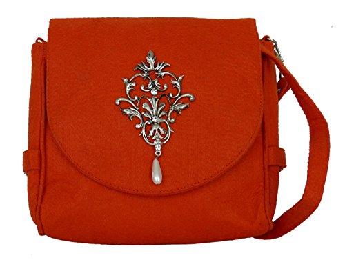 Trachtentasche aus Filz - Dirndltasche mit Antikstil Applikation - Umhängetasche fürs Dirndl Orange