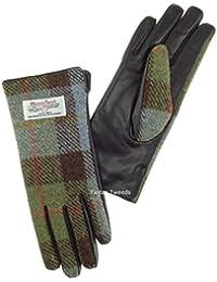 5131a076edf Harris Tweed Ladies 100% Leather Gloves Green Check Tartan LB3001