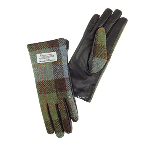 Harris Tweed Lederhandschuhe für Damen, Grün kariert, Schottenmuster, lLB3001...