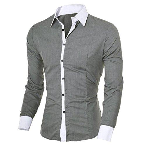 Herren T-shirt,Dasongff Mode Persönlichkeit Herren Hemd Casual Slim Fit Langarm-Shirt Top Bluse Oberteile Stehkragen Freizeithemd Langarmhemd Businesshemd (L, Grau) (69 Langarm-t-shirt)