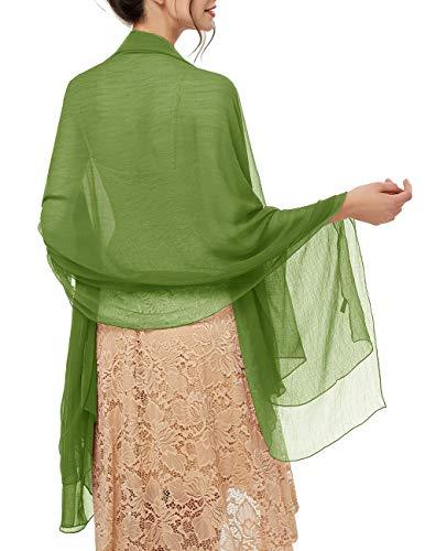 bridesmay Damen Strand Scarves Sonnenschutz Schal Sommer Tuch Stola für Kleider in 29 Farben Olive