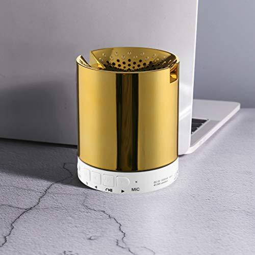 TianranRT★ Tragbarer Bluetooth Lautsprecher - Tragbarer Lautsprecher Mini Drahtloser Lautsprecher Bluetooth Lautsprecher Fm Bluetooth, Mini Wifi Kamera Lautsprecher, Gold